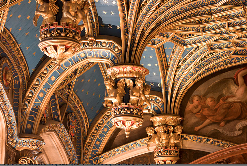 ceiling bosses of HCP chapel with royal motto