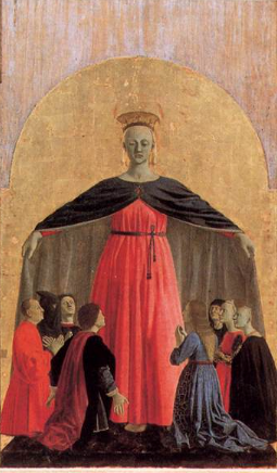 central panel of Piero della Francesco Arezzo Altarpiece - Mary as Mother Church