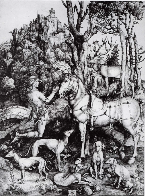 durer - engraving of st eustace - seated dog bottom rt